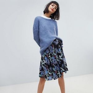 NWT ASOS Floral Knee length Skirt by Pieces